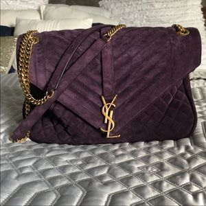 Ysl monogram college quilted purple suede
